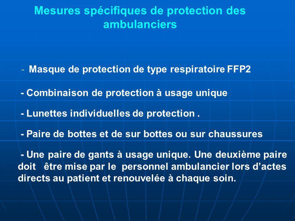 - Masque de protection de type respiratoire FFP2 - Combinaison de protection à usage unique - Lunettes individuelles de protection.