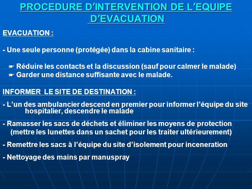 PROCEDURE D INTERVENTION DE L EQUIPE D EVACUATION EVACUATION : - Une seule personne (protégée) dans la cabine sanitaire : Réduire les contacts et la discussion (sauf pour calmer le malade) Garder une distance suffisante avec le malade.