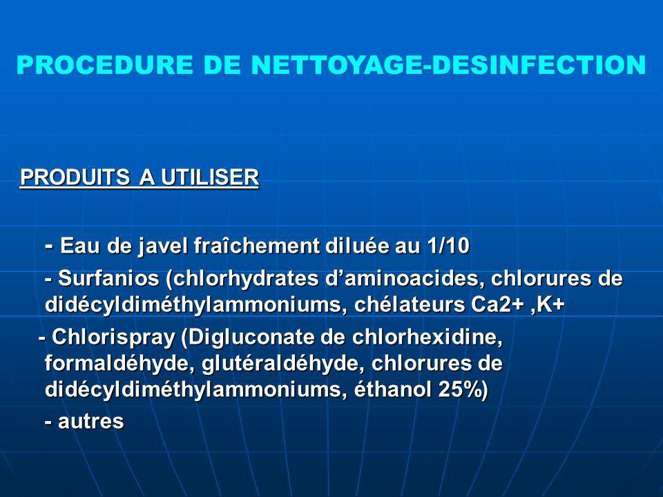 PROCEDURE DE NETTOYAGE-DESINFECTION PRODUITS A UTILISER - Eau de javel fraîchement diluée au 1/10 - Eau de javel fraîchement diluée au 1/10 - Surfanios (chlorhydrates daminoacides, chlorures de didécyldiméthylammoniums, chélateurs Ca2+,K+ - Surfanios (chlorhydrates daminoacides, chlorures de didécyldiméthylammoniums, chélateurs Ca2+,K+ - Chlorispray (Digluconate de chlorhexidine, formaldéhyde, glutéraldéhyde, chlorures de didécyldiméthylammoniums, éthanol 25%) - Chlorispray (Digluconate de chlorhexidine, formaldéhyde, glutéraldéhyde, chlorures de didécyldiméthylammoniums, éthanol 25%) - autres - autres