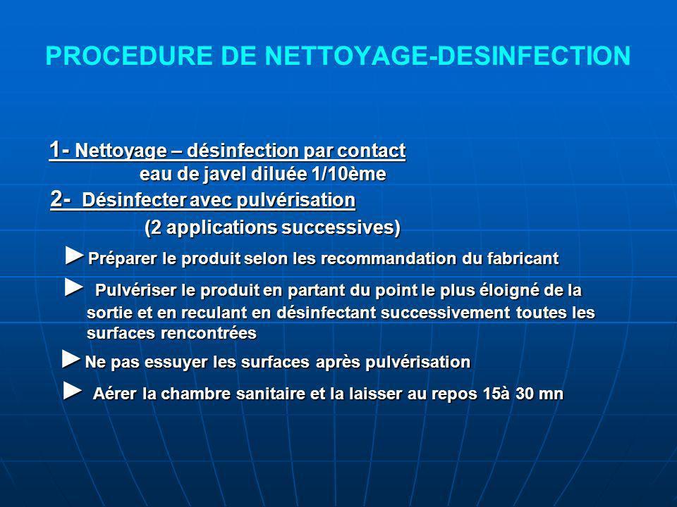 PROCEDURE DE NETTOYAGE-DESINFECTION 1- Nettoyage – désinfection par contact 1- Nettoyage – désinfection par contact eau de javel diluée 1/10ème eau de javel diluée 1/10ème 2- Désinfecter avec pulvérisation 2- Désinfecter avec pulvérisation (2 applications successives) (2 applications successives) Préparer le produit selon les recommandation du fabricant Préparer le produit selon les recommandation du fabricant Pulvériser le produit en partant du point le plus éloigné de la Pulvériser le produit en partant du point le plus éloigné de la sortie et en reculant en désinfectant successivement toutes les sortie et en reculant en désinfectant successivement toutes les surfaces rencontrées surfaces rencontrées Ne pas essuyer les surfaces après pulvérisation Ne pas essuyer les surfaces après pulvérisation Aérer la chambre sanitaire et la laisser au repos 15à 30 mn Aérer la chambre sanitaire et la laisser au repos 15à 30 mn