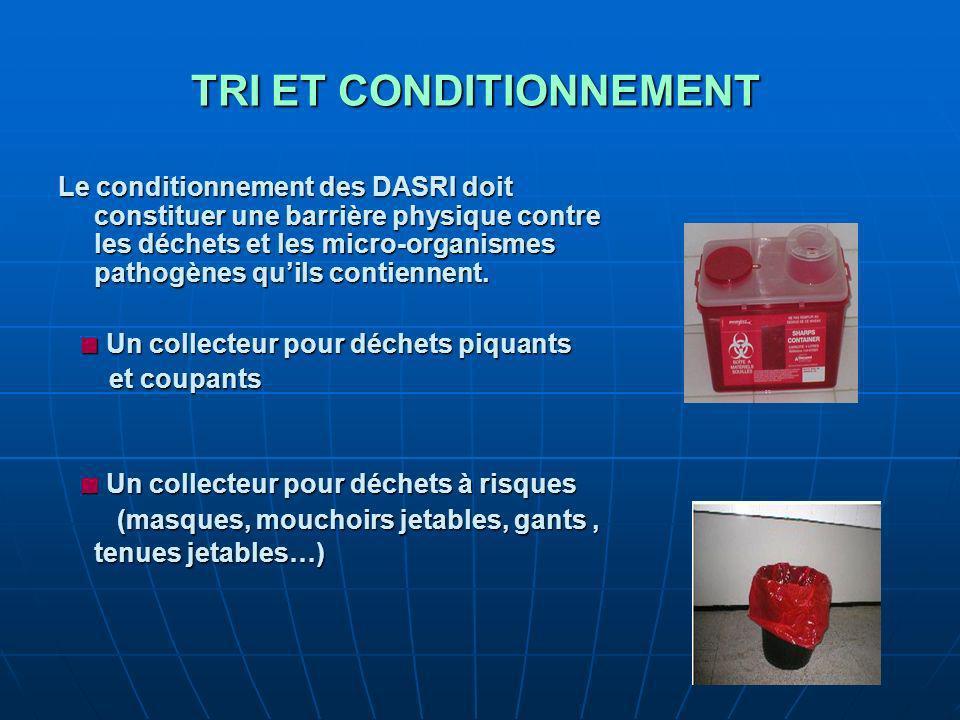 TRI ET CONDITIONNEMENT TRI ET CONDITIONNEMENT Le conditionnement des DASRI doit constituer une barrière physique contre les déchets et les micro-organismes pathogènes quils contiennent.