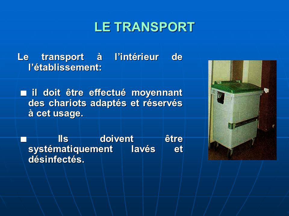 LE TRANSPORT Le transport à lintérieur de létablissement: il doit être effectué moyennant des chariots adaptés et réservés à cet usage.