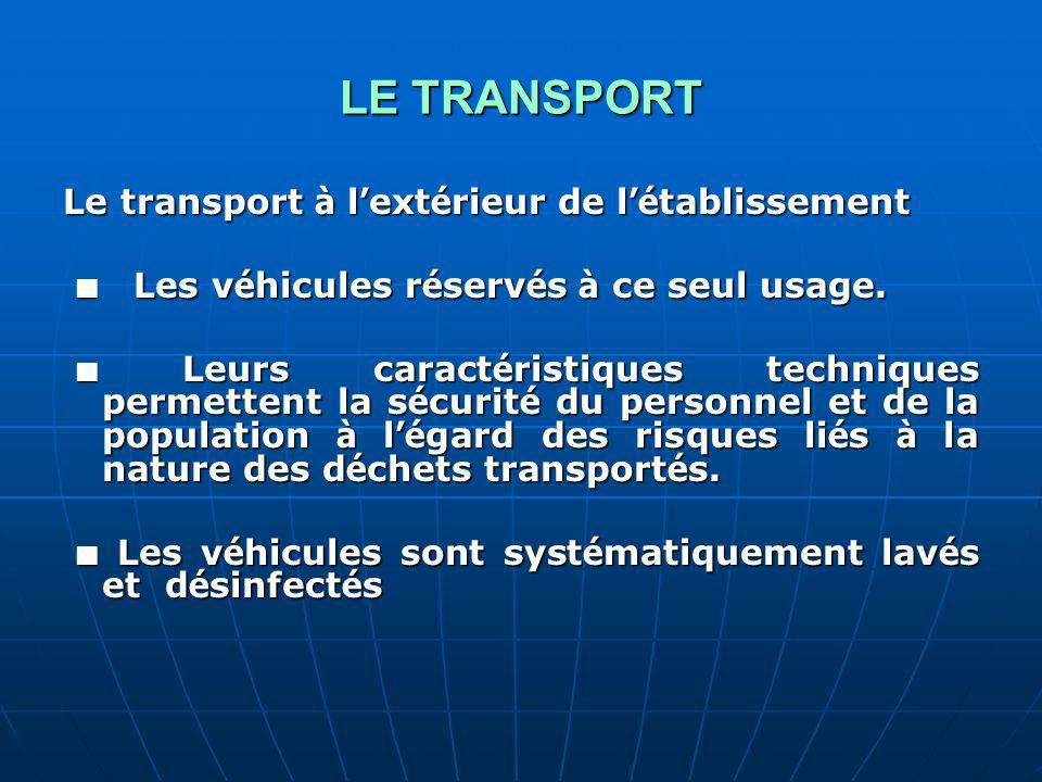 LE TRANSPORT Le transport à l ext é rieur de l é tablissement Les v é hicules r é serv é s à ce seul usage.
