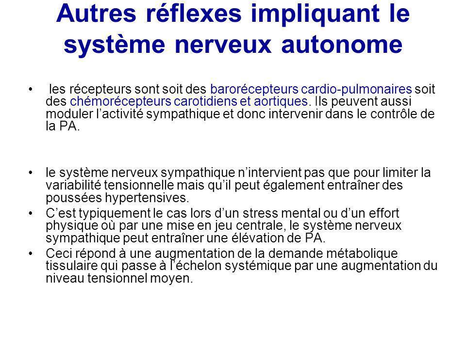 Autres réflexes impliquant le système nerveux autonome les récepteurs sont soit des barorécepteurs cardio-pulmonaires soit des chémorécepteurs carotid