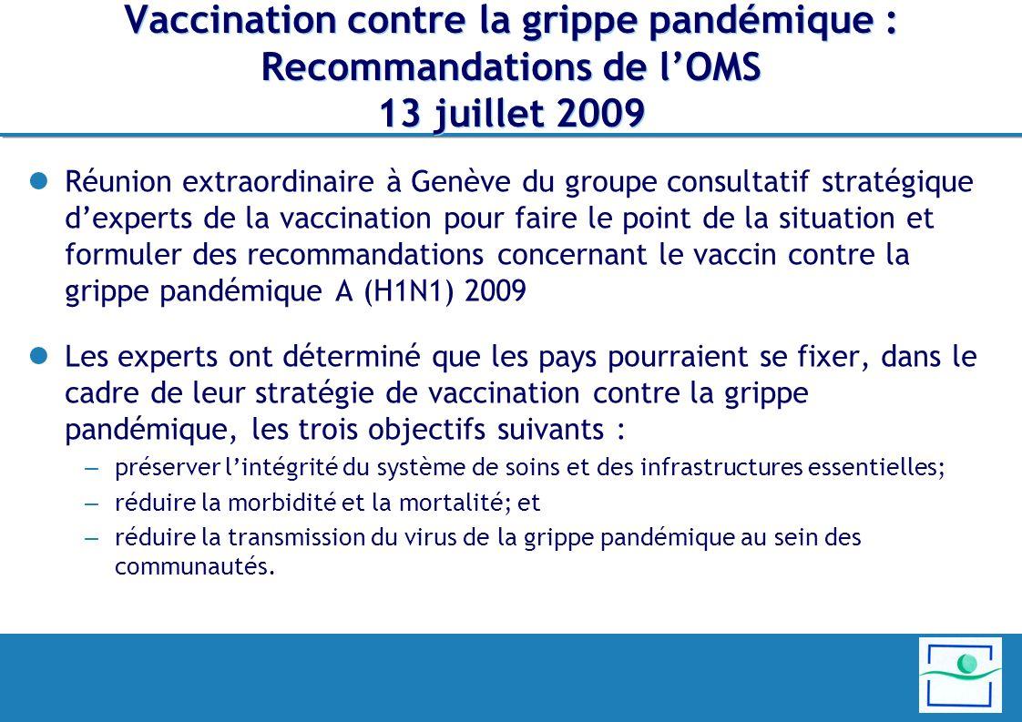 Vaccination contre la grippe pandémique : Recommandations de lOMS 13 juillet 2009 Réunion extraordinaire à Genève du groupe consultatif stratégique de