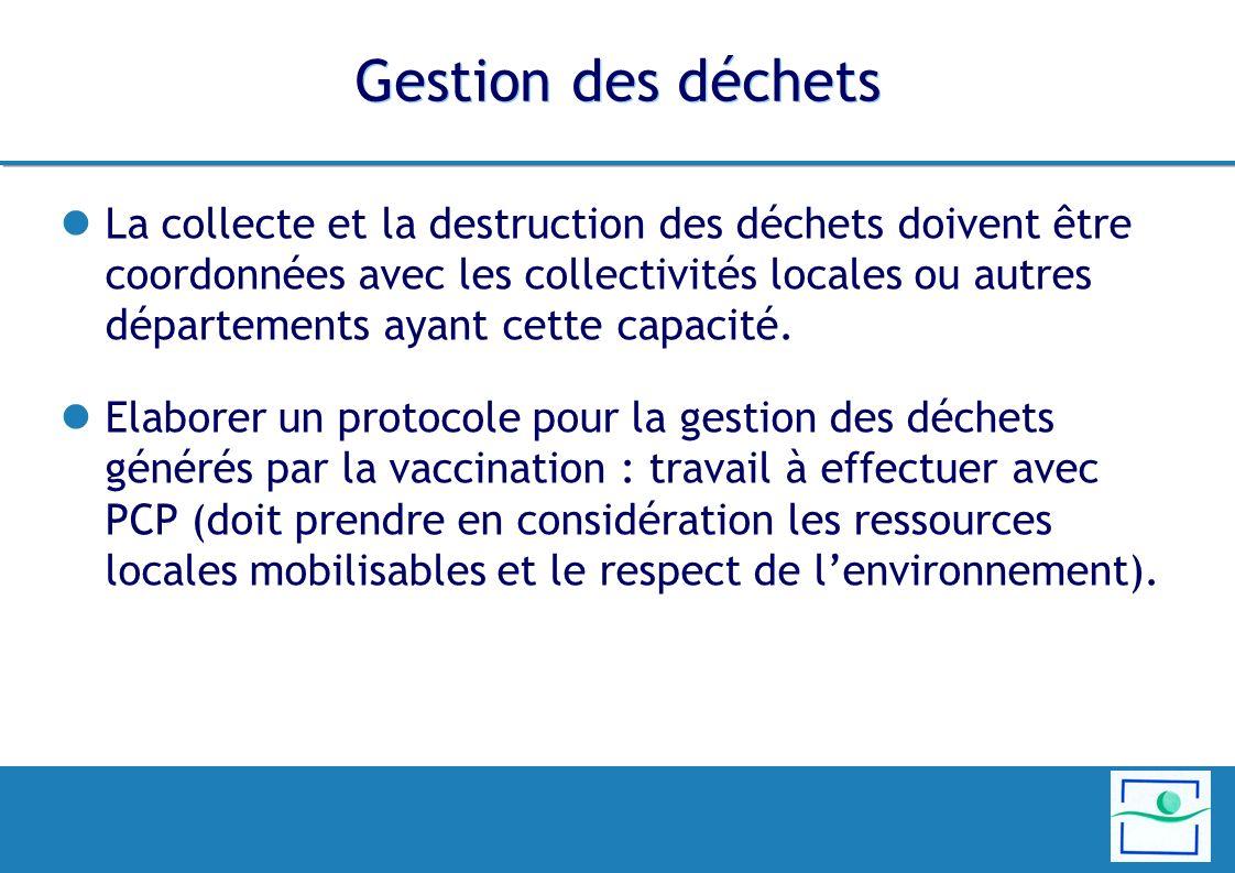 Gestion des déchets La collecte et la destruction des déchets doivent être coordonnées avec les collectivités locales ou autres départements ayant cet