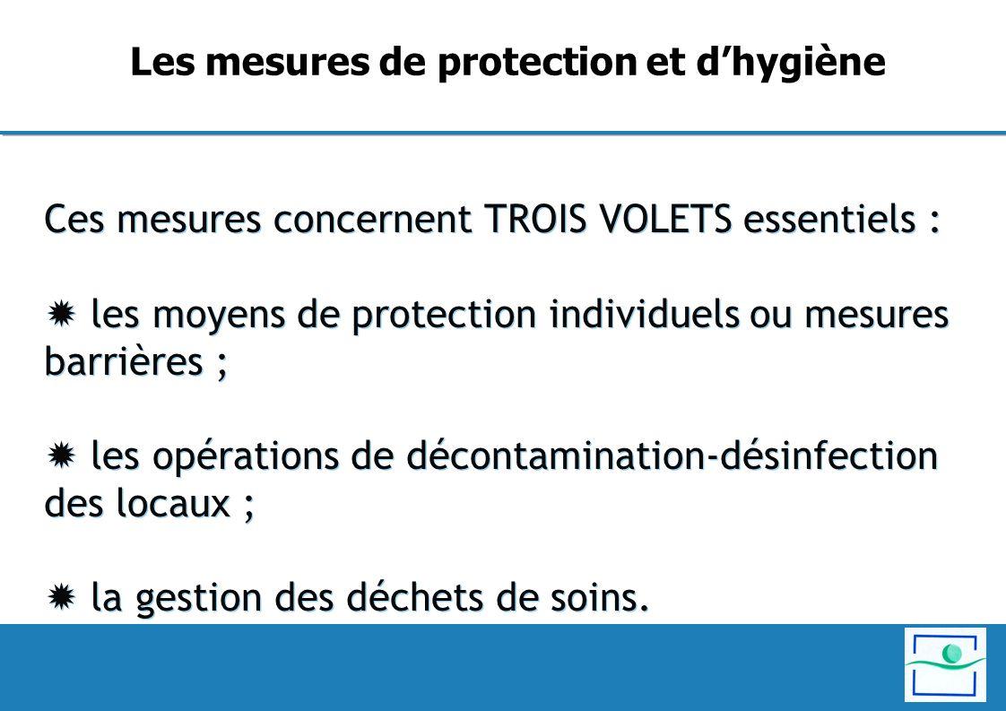 Ces mesures concernent TROIS VOLETS essentiels : les moyens de protection individuels ou mesures barrières ; les opérations de décontamination-désinfe