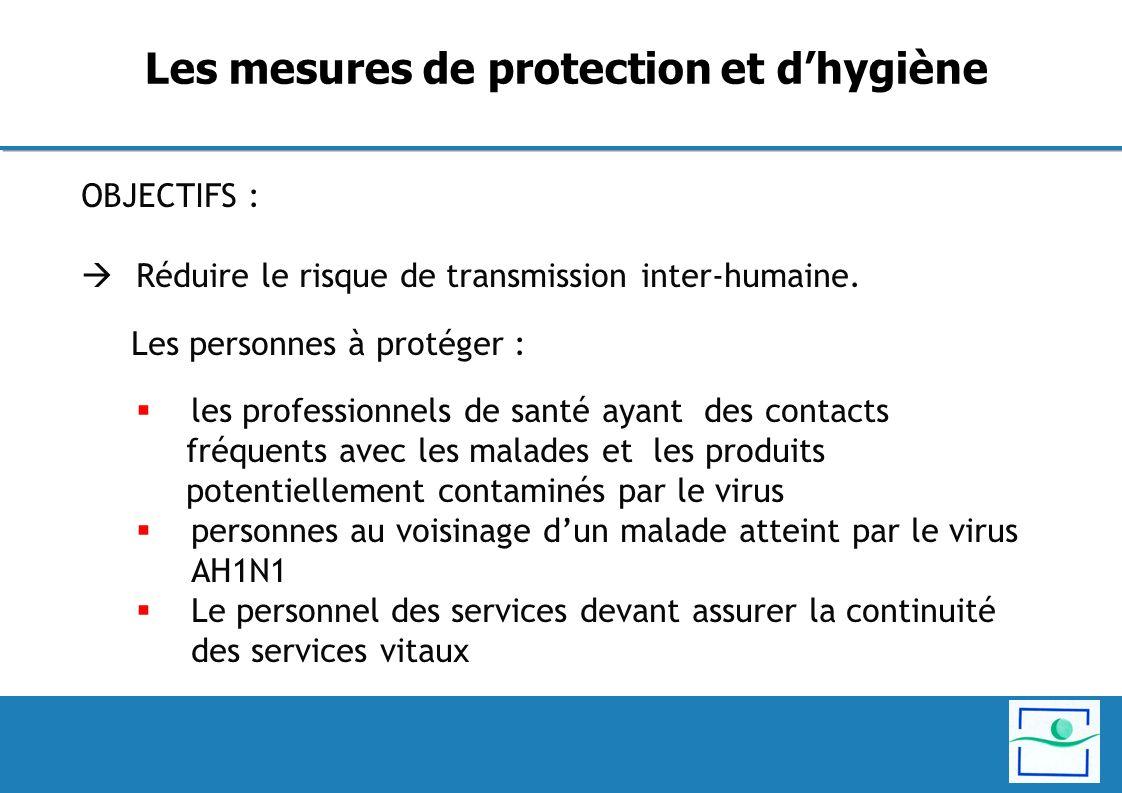 OBJECTIFS : Réduire le risque de transmission inter-humaine. Les personnes à protéger : les professionnels de santé ayant des contacts fréquents avec