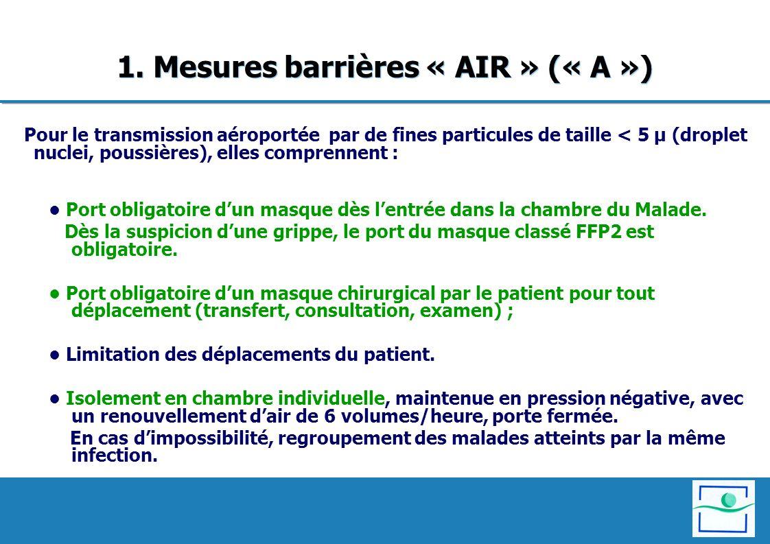 1. Mesures barrières « AIR » (« A ») Pour le transmission aéroportée par de fines particules de taille < 5 µ (droplet nuclei, poussières), elles compr
