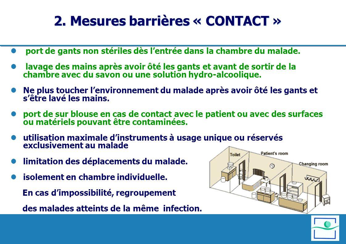 2. Mesures barrières « CONTACT » port de gants non stériles dès lentrée dans la chambre du malade. lavage des mains après avoir ôté les gants et avant
