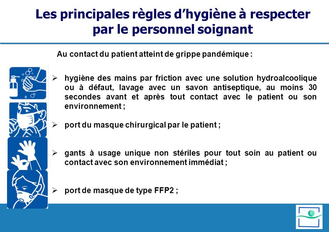 Les principales règles dhygiène à respecter par le personnel soignant hygiène des mains par friction avec une solution hydroalcoolique ou à défaut, la