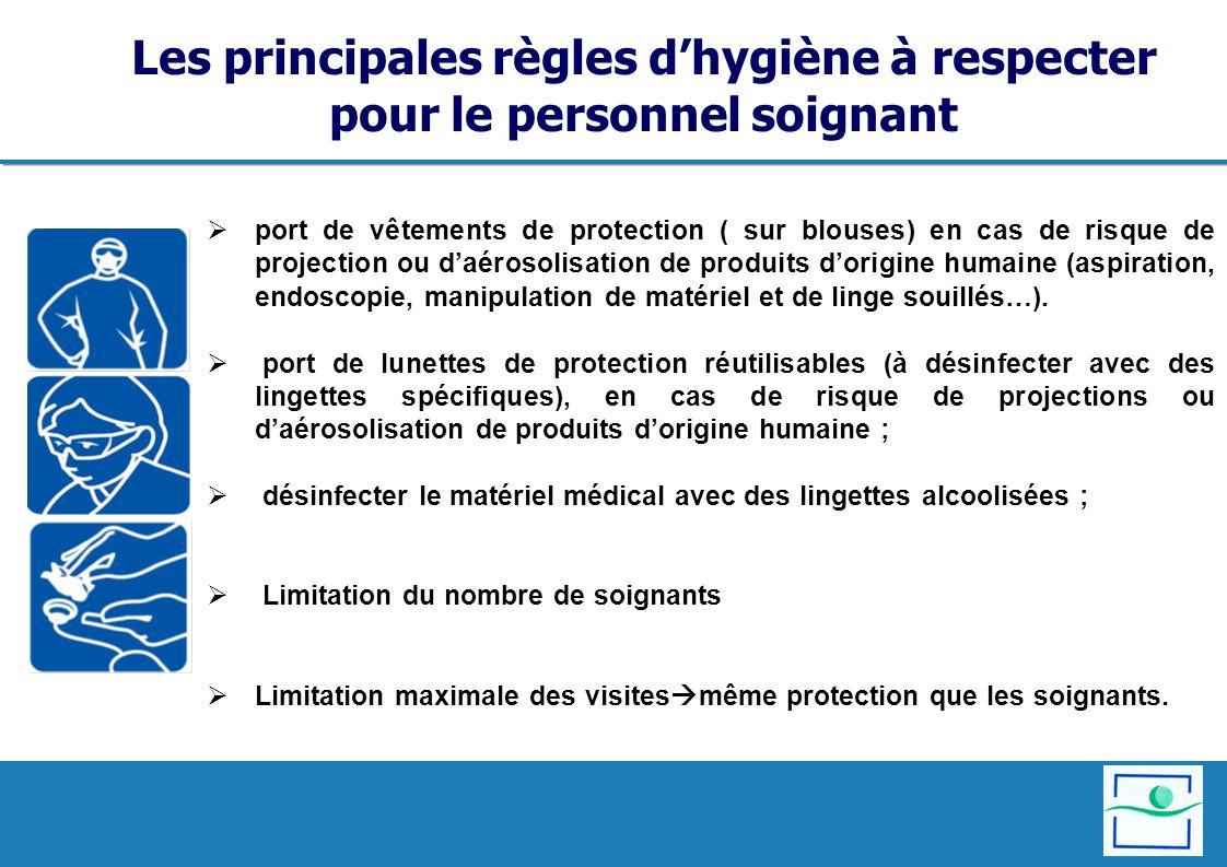 Les principales règles dhygiène à respecter pour le personnel soignant port de vêtements de protection ( sur blouses) en cas de risque de projection o