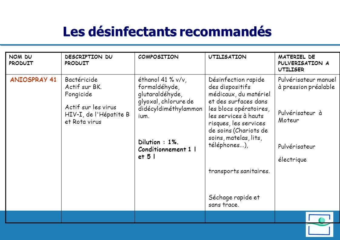 Les désinfectants recommandés NOM DU PRODUIT DESCRIPTION DU PRODUIT COMPOSITION UTILISATIONMATERIEL DE PULVERISATION A UTILISER ANIOSPRAY 41Bactéricid