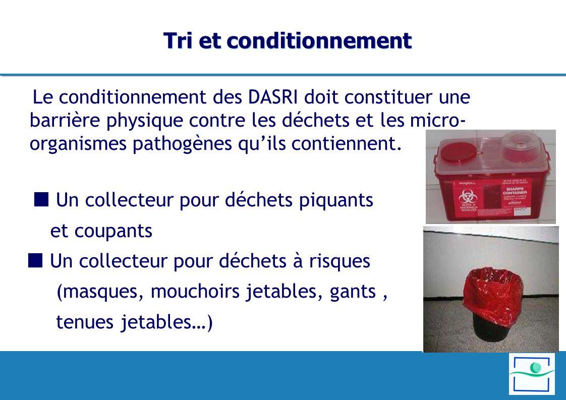 Tri et conditionnement Le conditionnement des DASRI doit constituer une barrière physique contre les déchets et les micro- organismes pathogènes quils