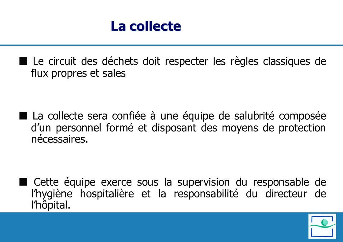 La collecte Le circuit des déchets doit respecter les règles classiques de flux propres et sales La collecte sera confiée à une équipe de salubrité co
