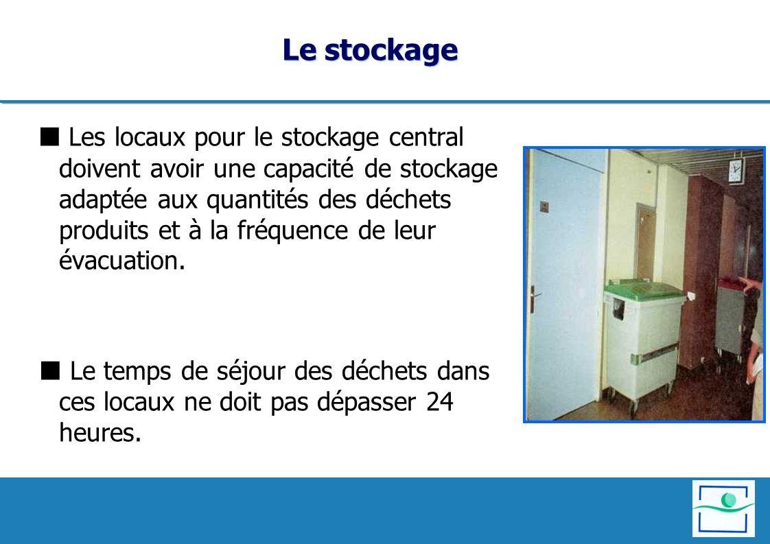Le stockage Les locaux pour le stockage central doivent avoir une capacité de stockage adaptée aux quantités des déchets produits et à la fréquence de