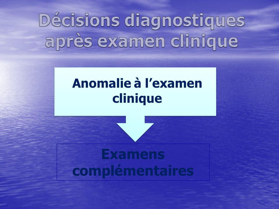 Anomalie à lexamen clinique Examens complémentaires