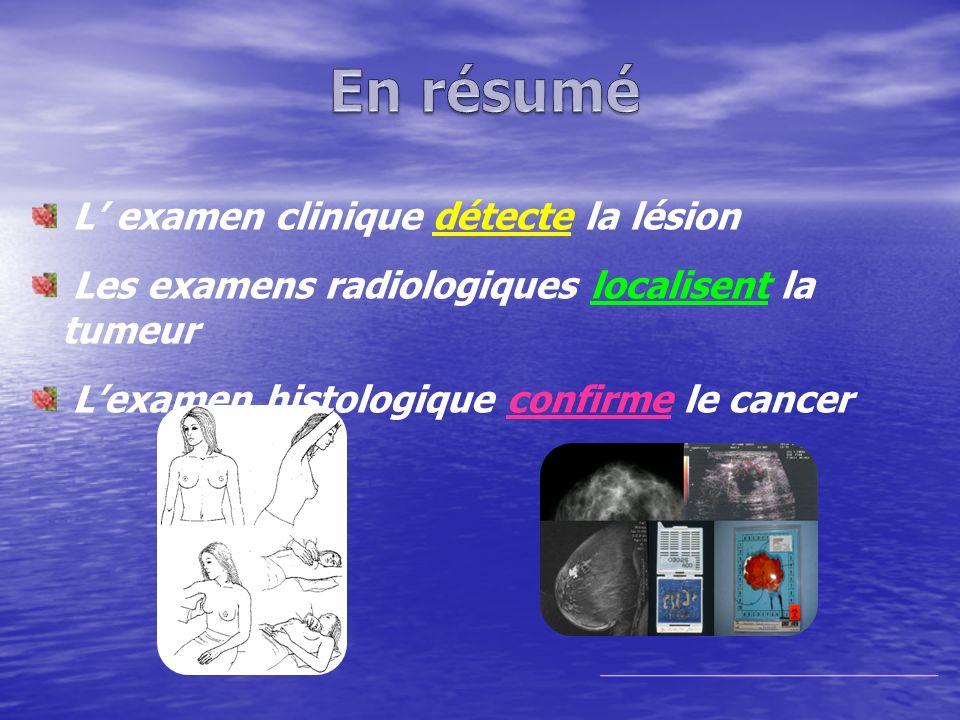 L examen clinique détecte la lésion Les examens radiologiques localisent la tumeur Lexamen histologique confirme le cancer