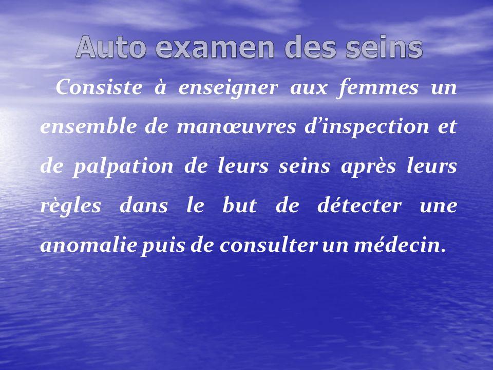 Consiste à enseigner aux femmes un ensemble de manœuvres dinspection et de palpation de leurs seins après leurs règles dans le but de détecter une ano