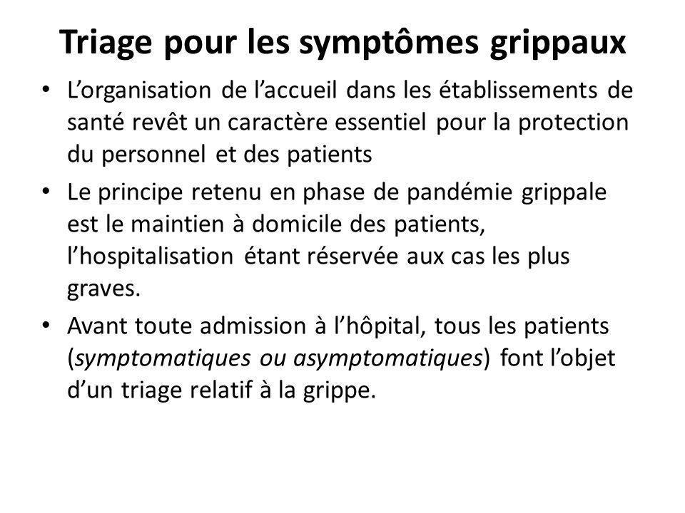 Triage pour les symptômes grippaux Lorganisation de laccueil dans les établissements de santé revêt un caractère essentiel pour la protection du perso