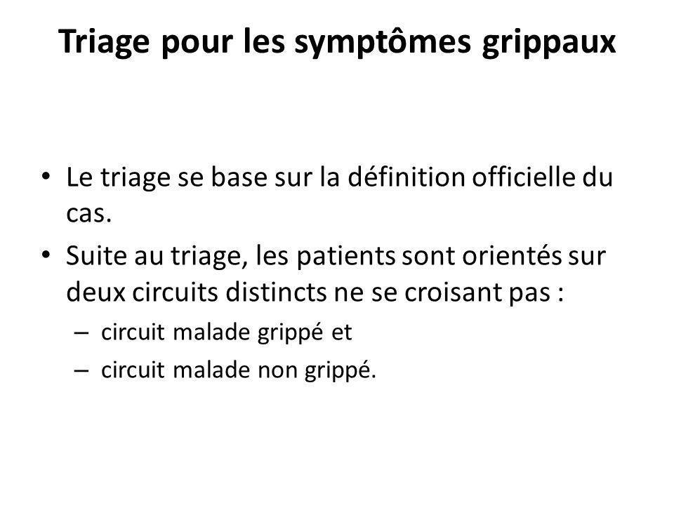 Triage pour les symptômes grippaux Le triage se base sur la définition officielle du cas. Suite au triage, les patients sont orientés sur deux circuit