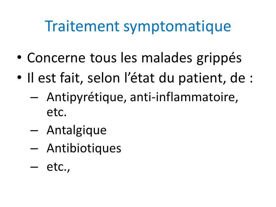 Traitement symptomatique Concerne tous les malades grippés Il est fait, selon létat du patient, de : – Antipyrétique, anti-inflammatoire, etc. – Antal
