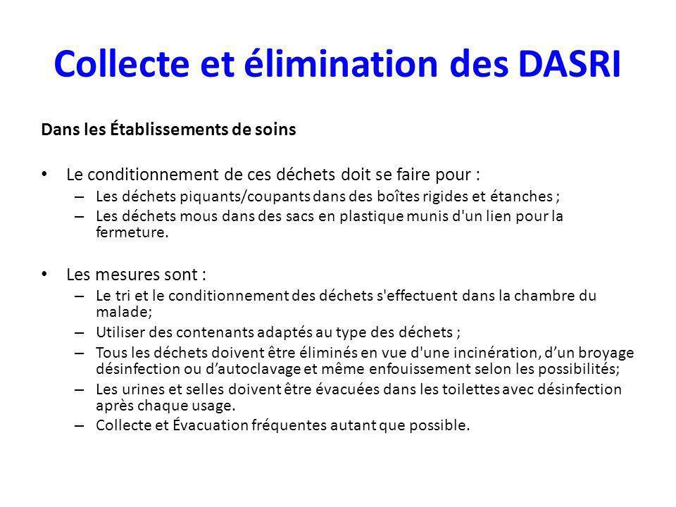 Collecte et élimination des DASRI Dans les Établissements de soins Le conditionnement de ces déchets doit se faire pour : – Les déchets piquants/coupa