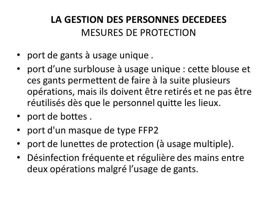 LA GESTION DES PERSONNES DECEDEES MESURES DE PROTECTION port de gants à usage unique. port dune surblouse à usage unique : cette blouse et ces gants p