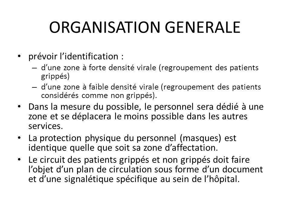 ORGANISATION GENERALE prévoir lidentification : – dune zone à forte densité virale (regroupement des patients grippés) – dune zone à faible densité vi