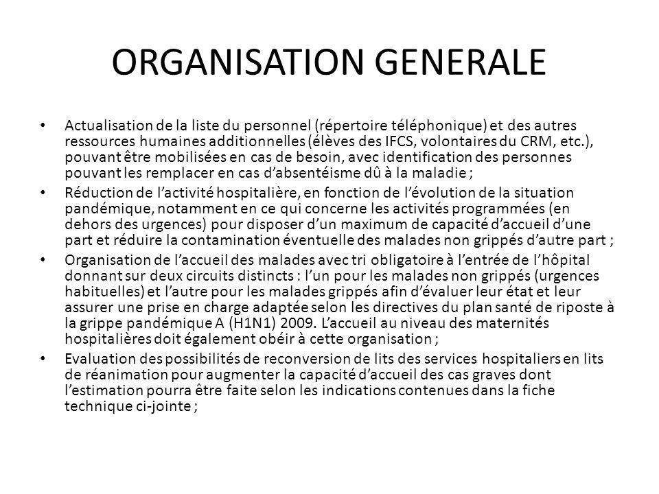 ORGANISATION GENERALE Préparation des ressources matérielles nécessaires à la prise en charge des cas, notamment les équipements de réanimation, les médicaments et fournitures, les moyens de transports (ambulances), etc.