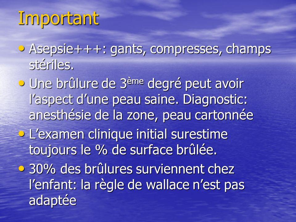 Important Asepsie+++: gants, compresses, champs stériles. Asepsie+++: gants, compresses, champs stériles. Une brûlure de 3 ème degré peut avoir laspec