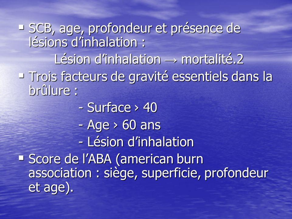 SCB, age, profondeur et présence de lésions dinhalation : SCB, age, profondeur et présence de lésions dinhalation : Lésion dinhalation mortalité.2 Lés