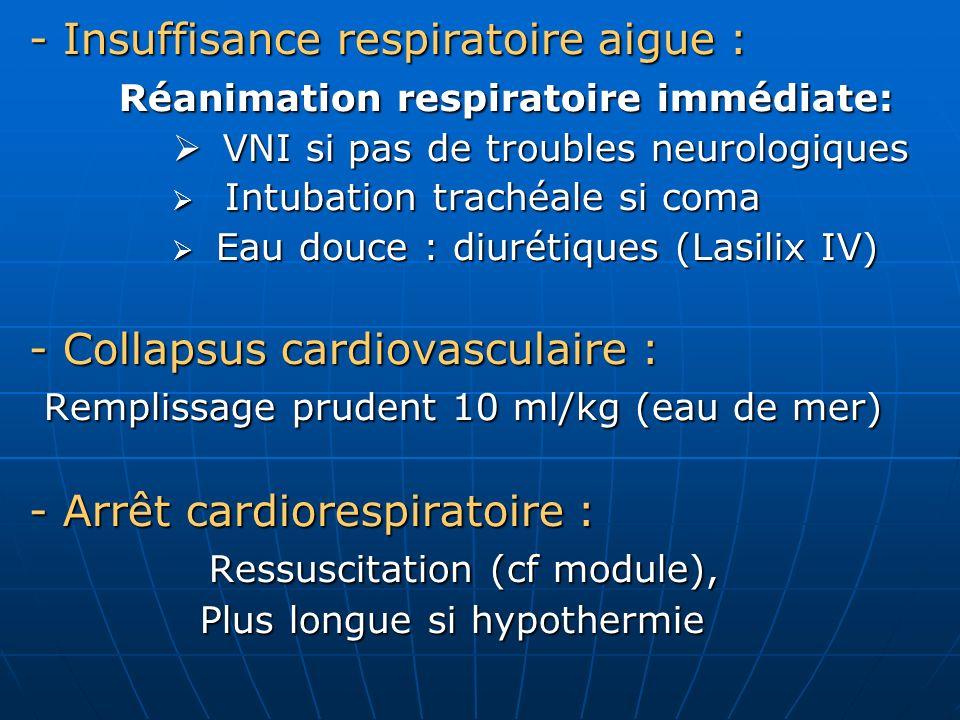 En milieu hospitalier : En milieu hospitalier : - Poursuivre la réanimation respiratoire - Poursuivre la réanimation respiratoire sous contrôle clinique, biologique (GDS) et sous contrôle clinique, biologique (GDS) et radiologique radiologique - Correction des troubles électrolytiques - Correction des troubles électrolytiques et hémodynamiques et hémodynamiques - En labsence de détresse respiratoire - En labsence de détresse respiratoire Surveillance clinique pendant 24h Surveillance clinique pendant 24h Sortie après contrôle radiologique et Sortie après contrôle radiologique et biologique biologique