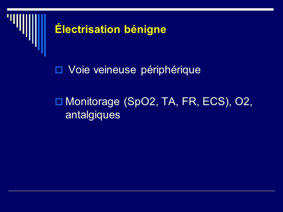 Électrisation bénigne Voie veineuse périphérique Monitorage (SpO2, TA, FR, ECS), O2, antalgiques