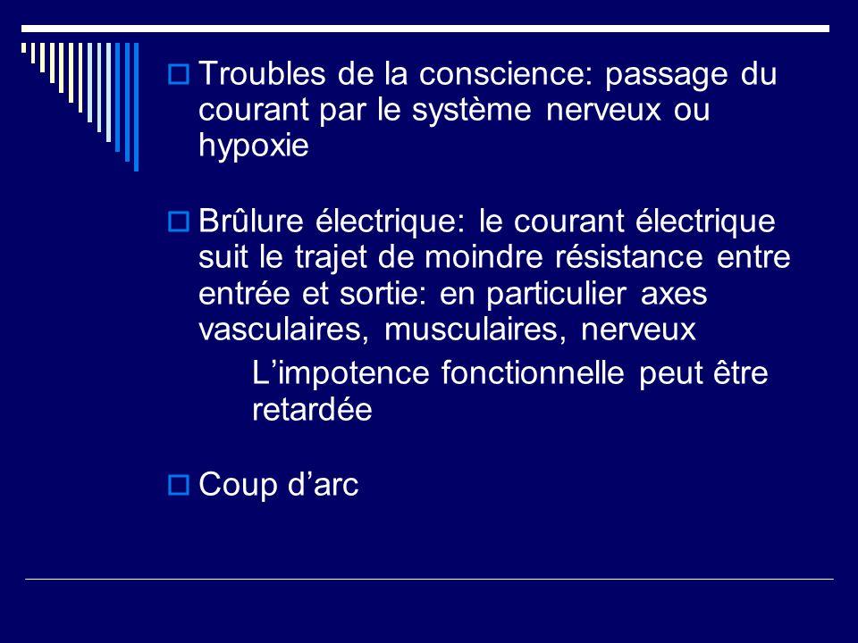 Troubles de la conscience: passage du courant par le système nerveux ou hypoxie Brûlure électrique: le courant électrique suit le trajet de moindre ré