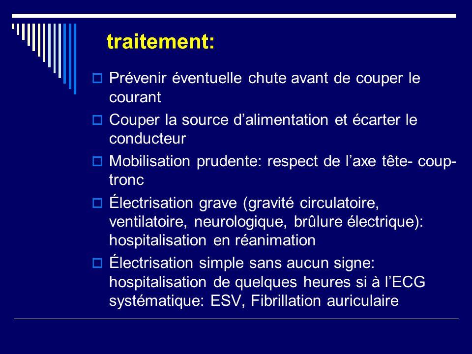 traitement: Prévenir éventuelle chute avant de couper le courant Couper la source dalimentation et écarter le conducteur Mobilisation prudente: respec