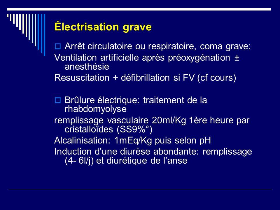 Électrisation grave Arrêt circulatoire ou respiratoire, coma grave: Ventilation artificielle après préoxygénation ± anesthésie Resuscitation + défibri