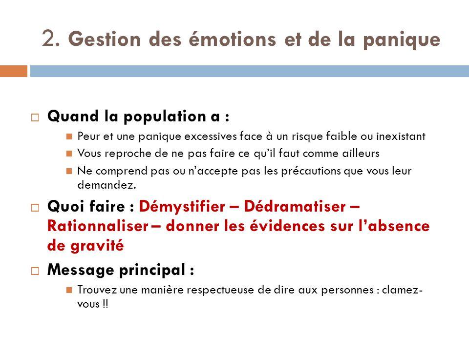 2. Gestion des émotions et de la panique Quand la population a : Peur et une panique excessives face à un risque faible ou inexistant Vous reproche de