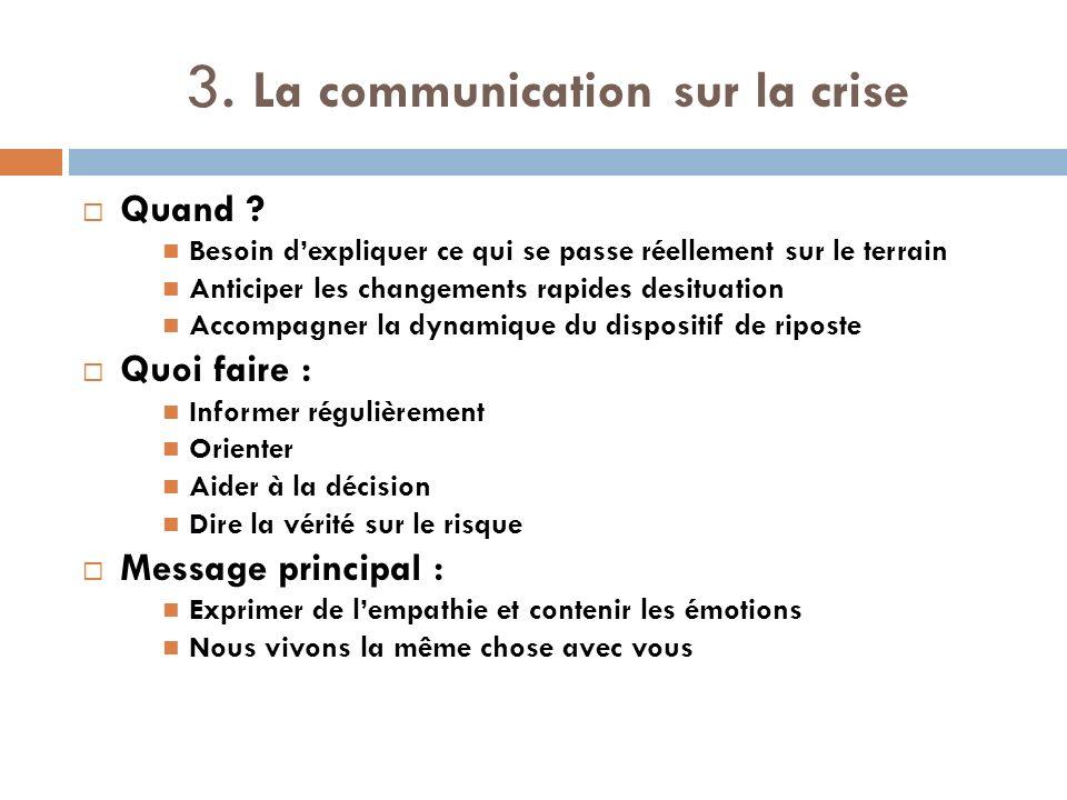 3. La communication sur la crise Quand ? Besoin dexpliquer ce qui se passe réellement sur le terrain Anticiper les changements rapides desituation Acc