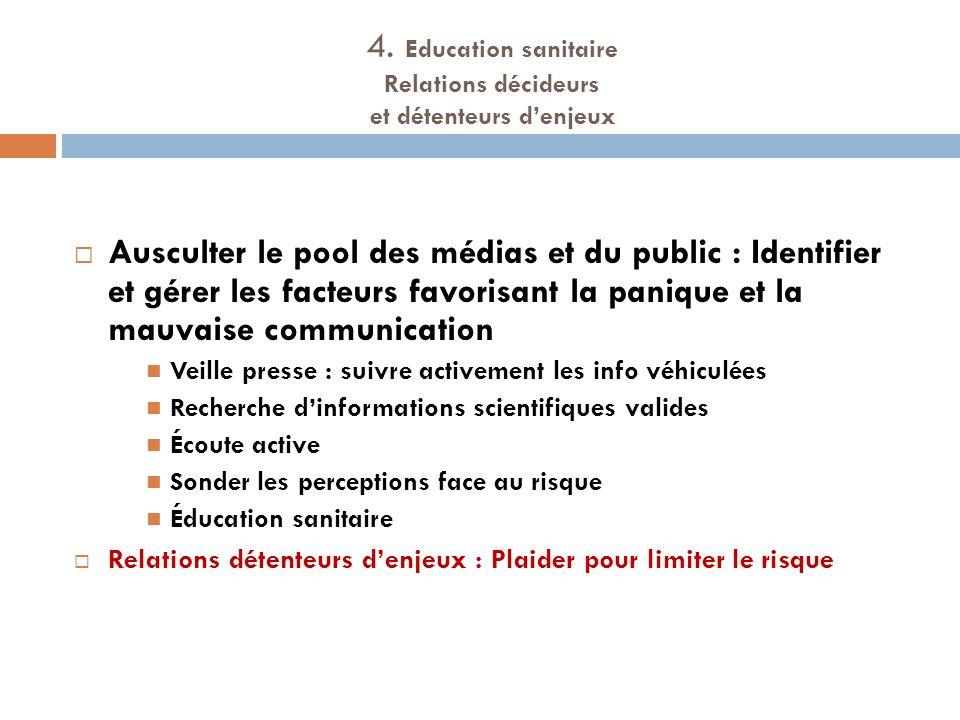 4. Education sanitaire Relations décideurs et détenteurs denjeux Ausculter le pool des médias et du public : Identifier et gérer les facteurs favorisa