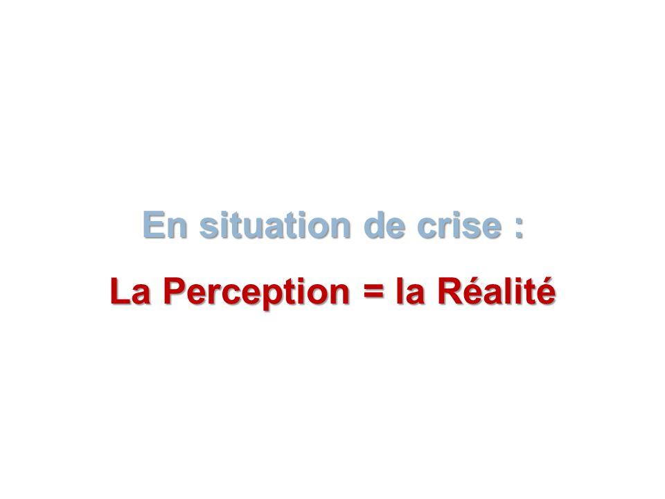 En situation de crise : La Perception = la Réalité