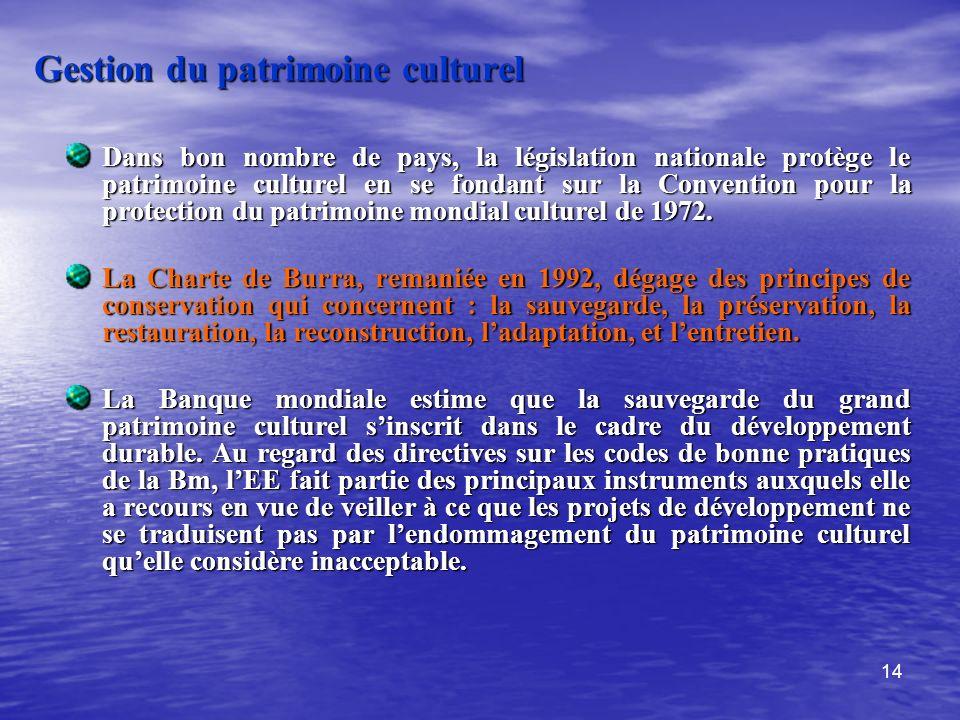 14 Gestion du patrimoine culturel Dans bon nombre de pays, la législation nationale protège le patrimoine culturel en se fondant sur la Convention pou
