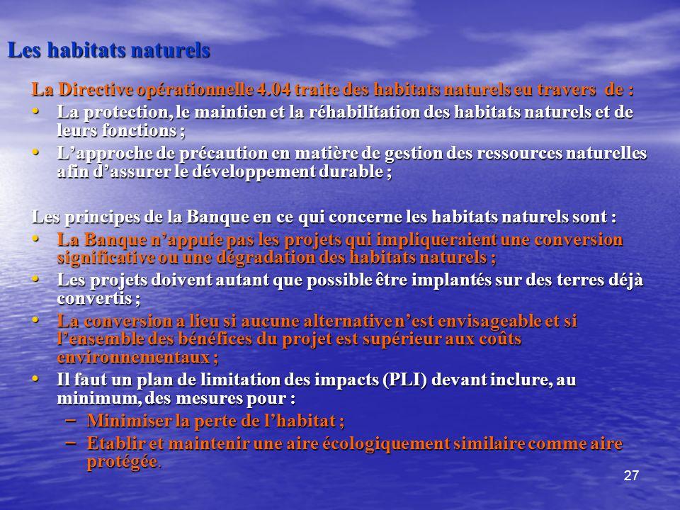 27 Les habitats naturels La Directive opérationnelle 4.04 traite des habitats naturels eu travers de : La protection, le maintien et la réhabilitation