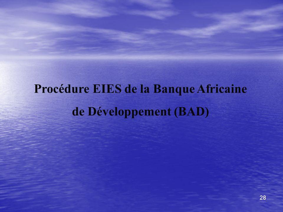 28 Procédure EIES de la Banque Africaine de Développement (BAD)