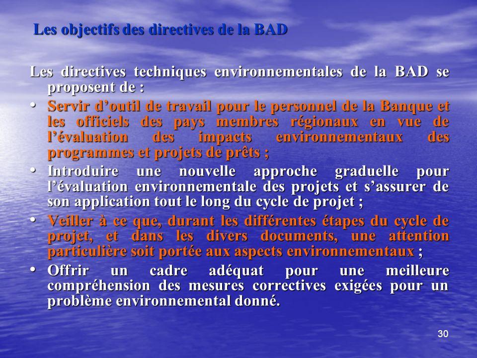 30 Les objectifs des directives de la BAD Les directives techniques environnementales de la BAD se proposent de : Servir doutil de travail pour le per