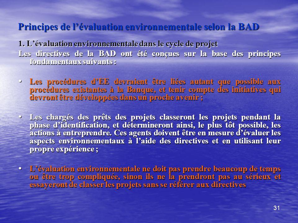 31 Principes de lévaluation environnementale selon la BAD 1. Lévaluation environnementale dans le cycle de projet Les directives de la BAD ont été con