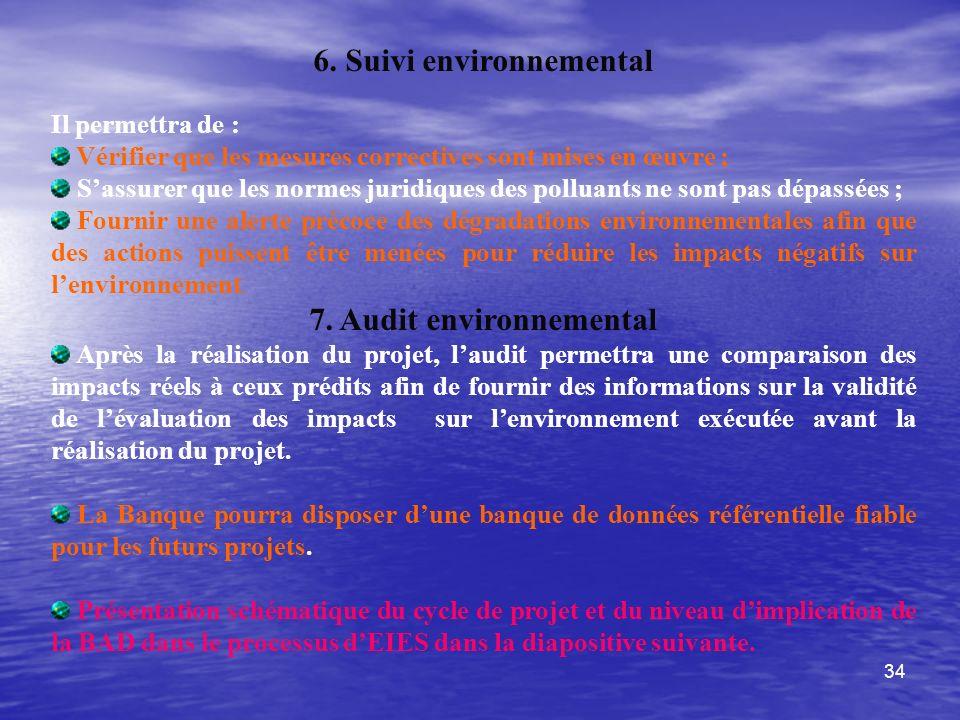 34 6. Suivi environnemental Il permettra de : Vérifier que les mesures correctives sont mises en œuvre ; Sassurer que les normes juridiques des pollua