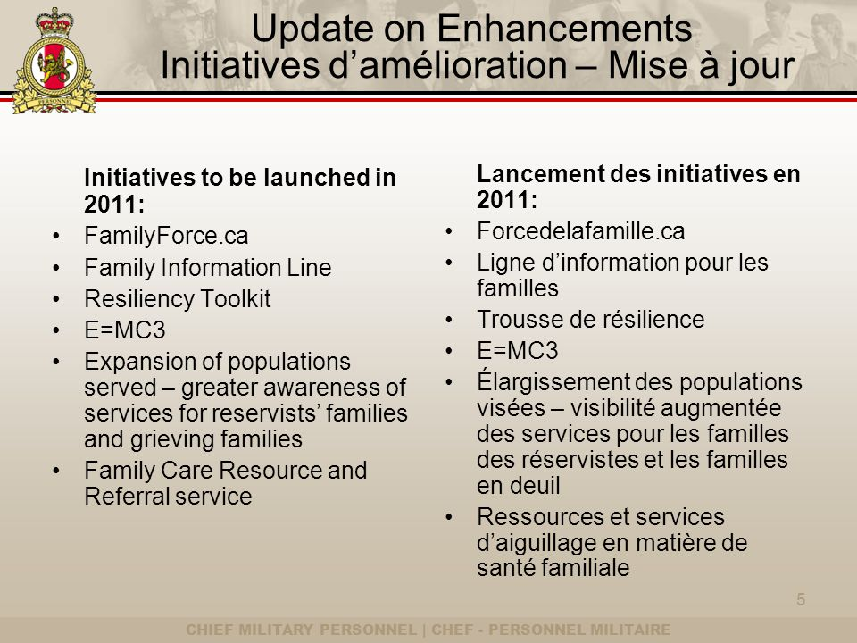 CHIEF MILITARY PERSONNEL | CHEF - PERSONNEL MILITAIRE Update on Enhancements Initiatives damélioration – Mise à jour Initiatives to be launched in 2011: FamilyForce.ca Family Information Line Resiliency Toolkit E=MC3 Expansion of populations served – greater awareness of services for reservists families and grieving families Family Care Resource and Referral service Lancement des initiatives en 2011: Forcedelafamille.ca Ligne dinformation pour les familles Trousse de résilience E=MC3 Élargissement des populations visées – visibilité augmentée des services pour les familles des réservistes et les familles en deuil Ressources et services daiguillage en matière de santé familiale 5