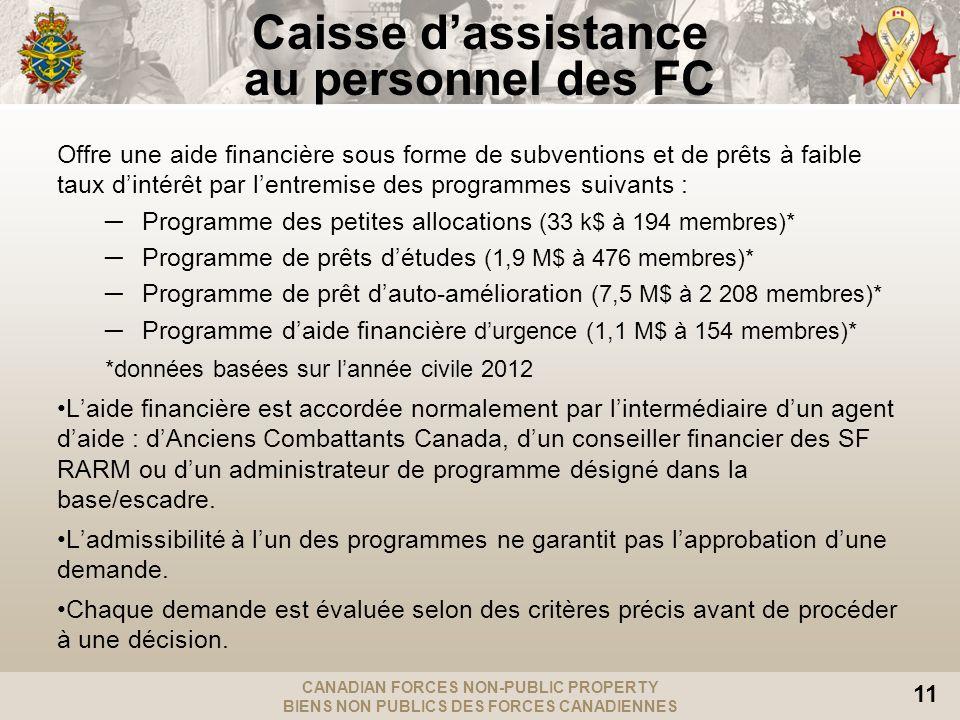 CANADIAN FORCES NON-PUBLIC PROPERTY BIENS NON PUBLICS DES FORCES CANADIENNES 11 Caisse dassistance au personnel des FC Offre une aide financière sous