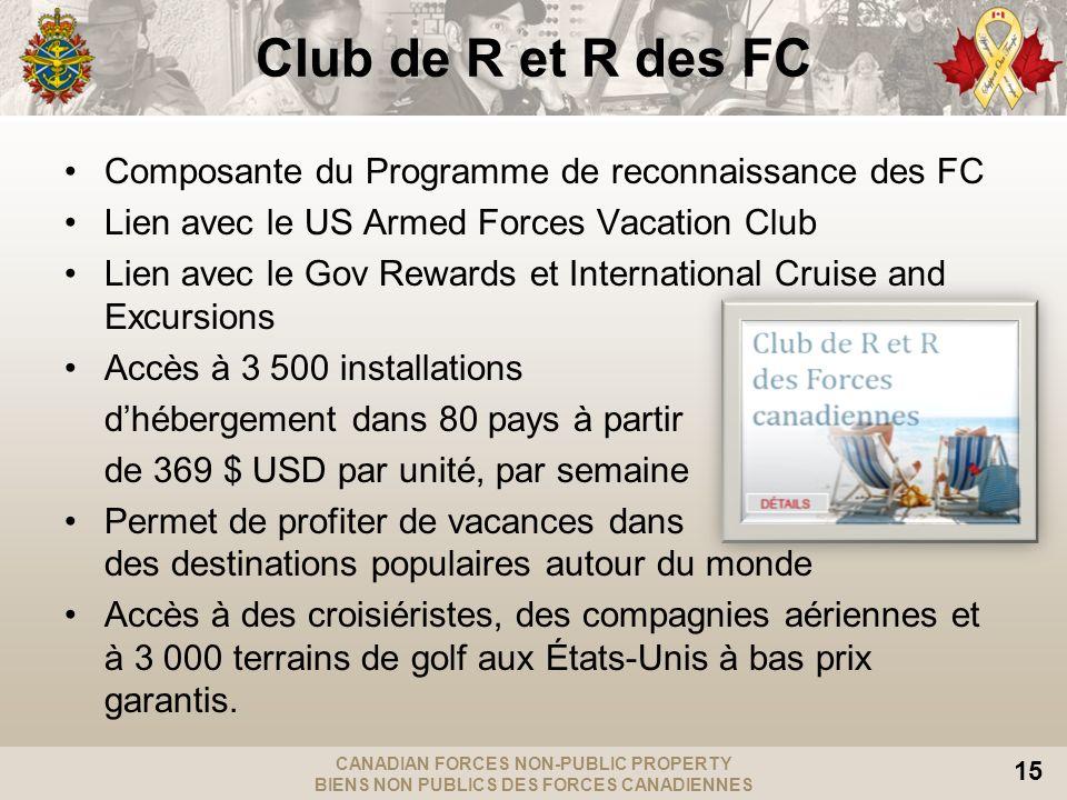 CANADIAN FORCES NON-PUBLIC PROPERTY BIENS NON PUBLICS DES FORCES CANADIENNES 15 Club de R et R des FC Composante du Programme de reconnaissance des FC